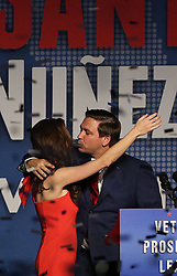 Ron DeSantis and his wife, Caey, celebrate after winning the Florida Governor's race during DeSantis' party at the Rosen Centre in Orlando, Fla., on Tuesday, November 6, 2018. Photo by Stephen M. Dowell/Orlando Sentinel/TNS/ABACAPRESS.COM