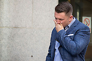 Tommy Robinson real name Stephen Yaxley-Lennon arrives at the Old Bailey in London,United Kingdom on 5th July 2019. Tommy Robinson attends the Old Bailey for a committal hearing for alleged contempt of court.