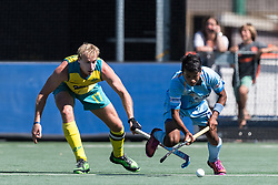 (L-R) Aran Zalewski of Australia, Vivek Prasad of India during the Champions Trophy finale between the Australia and India on the fields of BH&BC Breda on Juli 1, 2018 in Breda, the Netherlands.