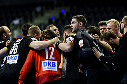 Players of Germany celebrate after winning during handball match between National Teams of Germany and Slovenia at Day 2 of IHF Men's Tokyo Olympic  Qualification tournament, on March 13, 2021 in Max-Schmeling-Halle, Berlin, Germany. Photo by Vid Ponikvar / Sportida