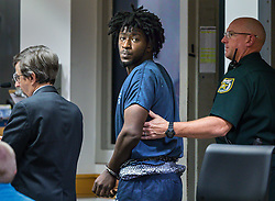 January 3, 2018 - West Palm Beach, Florida, U.S. - MARLIN LARICE JOSEPH appears in court, charged with the murders of a mother and daughter last week in West Palm Beach. Upset over an 11-year-old's 'bad attitude,' Joseph gunned down the girl's mother, then chased the elementary-school student outside and killed her, recently released West Palm Beach police records show. (Credit Image: © Lannis Waters/The Palm Beach Post via ZUMA Wire)