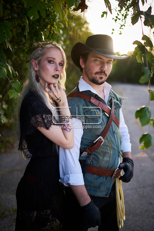 June 10, 2018. Austin, Texas. The Vampire Court of Austin, Texas. Pictured is the Vampire King and Queen, (L-R) Daley and Logan South.<br /> Photo Copyright John Chapple / www.JohnChapple.com