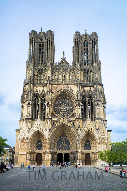 Renovation and cleaning works at Reims Notre Dame Cathedral, Champagne-Ardenne, France