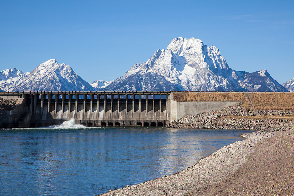 Scenic image of  the Jackson Lake Dam in Grand Teton National Park, WY.