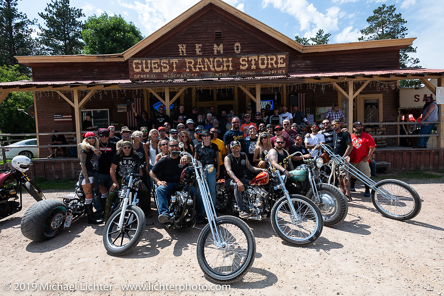 Group photo on the Cycle Source group ride and rest stop at the Nemo Guest Ranch during the Sturgis Black Hills Motorcycle Rally. SD, USA. Wednesday, August 7, 2019. Photography ©2019 Michael Lichter.