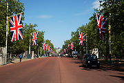Preparations for the Royal Wedding. The Mall in central London is now decked out with rows of giant Union Jack flags along the parade route.