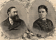 Samuel Baker (1821-1893) English explorer and his second wife Florence Baker (1845-1916 - born Barbara Maria Szasz in Transylvania) whom he bought at a white slave auction at Vidin.  Florence accompanied him on his arduous expeditions in Africa. From 'Heroes of Britain in Peace and War' by Edwin Hodder (London, c1880).