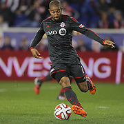 Justin Morrow, Toronto FC, in action during the New York Red Bulls Vs Toronto FC, Major League Soccer regular season match at Red Bull Arena, Harrison, New Jersey. USA. 11th October 2014. Photo Tim Clayton