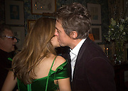 JEMIMA KHAN AND HUGH GRANT, Pre Bafta dinner hosted by Charles Finch and Chanel. Mark's Club. Charles St. London. 9 February 2008.  *** Local Caption *** -DO NOT ARCHIVE-© Copyright Photograph by Dafydd Jones. 248 Clapham Rd. London SW9 0PZ. Tel 0207 820 0771. www.dafjones.com.
