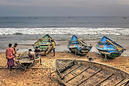 fishermen are relaxing at the end of the day