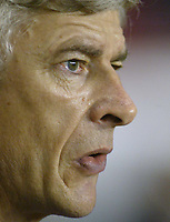 Fotball<br /> Champions League 2004/05<br /> Arsenal v Panathinaikos<br /> 2. november 2004<br /> Foto: Digitalsport<br /> NORWAY ONLY<br /> A pensive Arsenal manager Arsene Wenger before his match with Panathinaikos