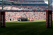 Teams line up during the Ladbrokes Challenge Cup Final 2017 match between Hull RFC and Wigan Warriors at Wembley Stadium, London, England on 26 August 2017. Photo by Simon Davies.