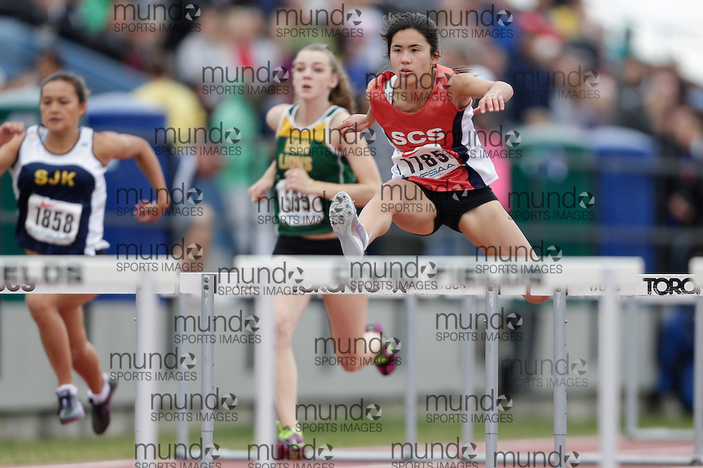 Alexandra Lee of St Clement's School - Toronto competes at the 2013 OFSAA Track and Field Championship in Oshawa Ontario, Friday,  June 7, 2013.<br /> Mundo Sport Images/ Geoff Robins