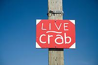 Live crab sign in Astoria, Oregon