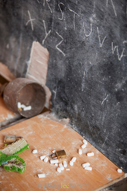 Chalkboard of a Dixsam School classroom, Dixsam, Socotra, Yemen