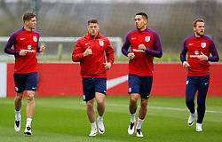 England's John Stones, Ross Barkley, Chris Smalling and Harry Kane warm up - Mandatory byline: Matt McNulty/JMP - 22/03/2016 - FOOTBALL - St George's Park - Burton Upon Trent, England - Germany v England - International Friendly - England Training and Press Conference