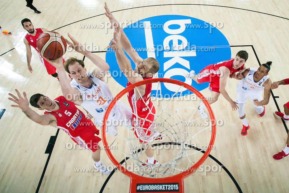 Robin Smeulders of Netherlands between Damjan Rudez of Croatia and Luka Zoric of Croatia during basketball match between Netherlands and Croatia at Day 5 in Group C of FIBA Europe Eurobasket 2015, on September 9, 2015, in Arena Zagreb, Croatia. Photo by Vid Ponikvar / Sportida