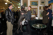 Virginia Gillece, 'William the Great Dane, and Clayton Gillece, The Affordable Art Fair private view ( in aid of Barnados) Battersea. 19 March 2003. © Copyright Photograph by Dafydd Jones 66 Stockwell Park Rd. London SW9 0DA Tel 020 7733 0108 www.dafjones.com