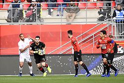 October 28, 2018 - Rennes, France - 05 YUNIS ABDELHAMID (REI) - 40 TOMAS KOUBEK (REN) - 21 BENJAMIN ANDRE  (Credit Image: © Panoramic via ZUMA Press)