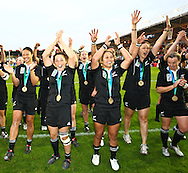 5th September 2010, Twickenham Stoop, London, England: The New Zealand team celebrate after winning the IRB Women's Rugby World Cup final between England and New Zealand Black Ferns. New Zealand won 13-10, capturing the trophy for the 4th time.  (Photo by Andrew Tobin www.slikimages.com)