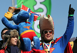 Fans of Norway at Flying Hill Team in 3rd day of 32nd World Cup Competition of FIS World Cup Ski Jumping Final in Planica, Slovenia, on March 21, 2009. (Photo by Vid Ponikvar / Sportida)