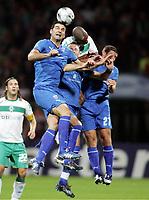 Fotball , Champions League , 16. september 2008<br />  Champions League Gruppenphase SV Werder Bremen - Anorthosis Famagusta<br />  v.l. Traianos Dellas, Naldo, Cedric Bardon Anorthosis Famagusta<br /> <br /> <br /> Norway only