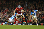 Jonathan Davies of Wales is stopped by Matias Orlando of Argentina. Under Armour 2016 series international rugby, Wales v Argentina at the Principality Stadium in Cardiff , South Wales on Saturday 12th November 2016. pic by Andrew Orchard, Andrew Orchard sports photography
