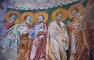 13th century Byzantine Roman style frescoes of the apostles on the apse wall of the Romanesque Basilica Church of Santa Maria Maggiore, Tuscania .<br /> <br /> Visit our ITALY PHOTO COLLECTION for more   photos of Italy to download or buy as prints https://funkystock.photoshelter.com/gallery-collection/2b-Pictures-Images-of-Italy-Photos-of-Italian-Historic-Landmark-Sites/C0000qxA2zGFjd_k .<br /> <br /> Visit our MEDIEVAL PHOTO COLLECTIONS for more   photos  to download or buy as prints https://funkystock.photoshelter.com/gallery-collection/Medieval-Middle-Ages-Historic-Places-Arcaeological-Sites-Pictures-Images-of/C0000B5ZA54_WD0s