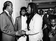 Benjamin Zephaniah meets Nelson Mandela at The South African Embassy - London 1990