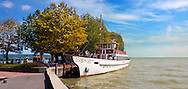 Old style traditional passanger ferry,  ketcsmet,  lake Balaton, Hungary .<br /> <br /> Visit our HUNGARY HISTORIC PLACES PHOTO COLLECTIONS for more photos to download or buy as wall art prints https://funkystock.photoshelter.com/gallery-collection/Pictures-Images-of-Hungary-Photos-of-Hungarian-Historic-Landmark-Sites/C0000Te8AnPgxjRg