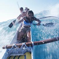 Surfing 4 man canoe off Kohala Coast at Mauna Lani Resort on the Big Island of Hawaii