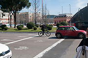 Cycling path and bike box Photographed in Madrid, Spain