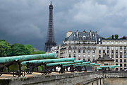France, Paris, Cannons in front of Les Invalides, Eiffel Tower