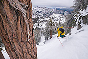 MindShift Gear Rotation180º backpacks in action while skiing at Lake Tahoe, California