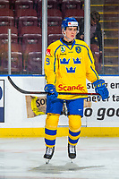 KELOWNA, BC - DECEMBER 18:  Nils Lundkvist #9 of Team Sweden warms up against the Team Russia at Prospera Place on December 18, 2018 in Kelowna, Canada. (Photo by Marissa Baecker/Getty Images)***Local Caption***