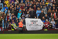 Aston Villa fans with a banner during the match.<br /> Barclays Premier League match, Aston Villa v AFC Bournemouth at Villa Park in Birmingham, The Midlands on Saturday 09th April 2016.<br /> Pic by Ian Smith, Andrew Orchard Sports Photography.