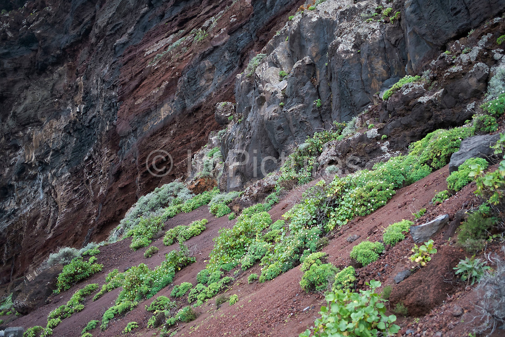 Rugged volcanic coastline and rocks at Playa de Nogales in La Palma, Canary Islands, Spain. La Palma, also San Miguel de La Palma, is the most north-westerly Canary Island in Spain. La Palma has an area of 706km2 making it the fifth largest of the seven main Canary Islands.