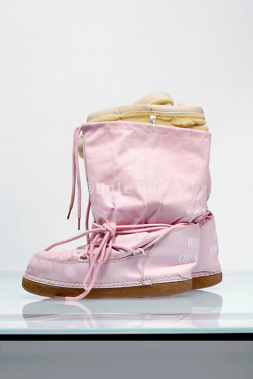 side view of pink winter boots