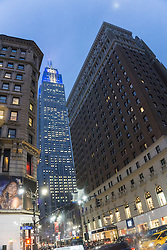 The Empire State Building at dusk in New York City on 34th Street and 6th Avenue