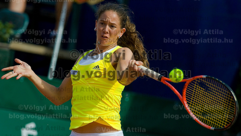 Agnes Szavay (HUN) playing a winning match against Patty Schnyder (CHE, pictured) during the final of the Gaz de France Suez WTA tour Grand Prix international women tennis competition held at Roman Tennis Academy in Budapest, Hungary. Sunday, 12. July 2009. ATTILA VOLGYI