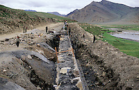 Building work in the Tibetan countryside.