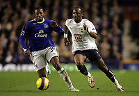 Photo: Paul Thomas.<br /> Everton v Tottenham Hotspur. The Barclays Premiership. 21/02/2007.<br /> <br /> Manuel Fernandes (L) of Everton tries to keep up with Didier Zokora.