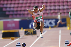 July 10, 2018 - Tampere, Suomi Finland - 180710 Friidrott, Junior-VM, Dag 1: Leon Okafor AUT competes in men's Decathlon Long jump during the IAAF World U20 Championships day 1 at the Ratina stadion 10. July 2018 in Tampere, Finland. (Newspix24/Kalle Parkkinen) (Credit Image: © Kalle Parkkinen/Bildbyran via ZUMA Press)