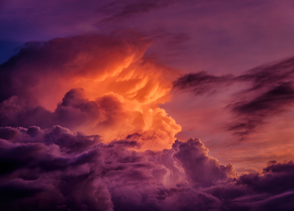 Dramatic light at sunset at the Howard County Conservancy lights up a thunderhead.