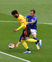 Football - 2019 / 2020 Premier League - Watford vs. Leicester City<br /> <br /> Watford's Etienne Capoue holds off the challenge from Leicester City's James Maddison, at Vicarage Road.<br /> <br /> COLORSPORT/ASHLEY WESTERN