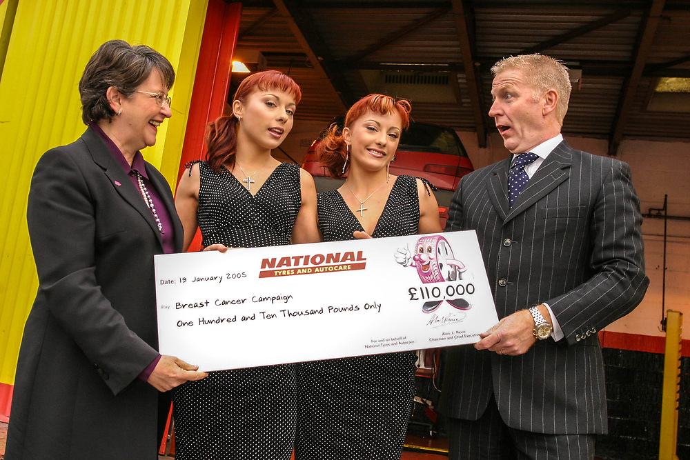 Breast Cancer Campaign. Cheeky girls presenting cheque. with National tyres  CE Alan Revie and Pamela Goldberg. 19/1/05