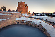 Hovenweep Castle, Hovenweep National Monument, Utah, ancient, dwelling, ice, ruin, snow, twilight, Indian, Native American