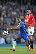 Didier Drogba of Chelsea passing the ball. Barclays Premier league match, Chelsea v Manchester Utd at Stamford Bridge Stadium in London on Saturday 18th April 2015.<br /> pic by John Patrick Fletcher, Andrew Orchard sports photography.