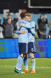 April 29, 2018 - Bronx, New York, United States - New York City forward DAVID VILLA (7) celebrates goal with New York City midfielder ALEXANDER RING (8) during a regular season match at Yankee Stadium in Bronx, NY.  NYCFC defeats FC Dallas 3 to 1. (Credit Image: © Mark Smith via ZUMA Wire)