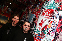 Photo: Paul Thomas.<br /> Photography of Norwegian Liverpool supporters at Anfield. 04/03/2007.<br /> <br /> Norwegian Liverpool supporters Andre Oien (R) and Per Arild Soly.
